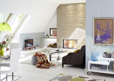 Brunner Stil-Kamin - 53/88 mit Naturstein im hellblauen Apartment