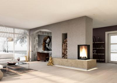 Foto: Eckkamin | Feuertisch Naturstein | Optik Beton
